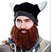 bearded winter hat - Hats Beanie Skull Caps Bearded Knitted Hats Vikings Horn Knitted Hat Warmer Ski Bike Skull Hat Unisex Men Children Beard Cap