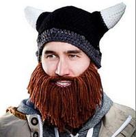Sombreros Beanie cráneo Caps barbudo hicieron punto los sombreros Vikings Cuerno punto Hat esquí del calentador de la bici del cráneo del sombrero unisex Hombres Cap Barba niños