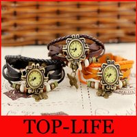 Wholesale Fashion Cow Leather Strap Casual Vintage women s knitted leather butterfly watches bracelet watch women s Dress Watches