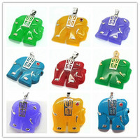 Cheap 6 color Red black blue green purple yellow Charming 18K GP Jade Elephant Pendant Necklace free send Chain