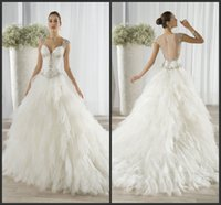 Cheap Demetrios Ball Gown Ruffled Tulle Wedding Dresses Covered Button Sweetheart Beaded Cap Sleeves EG 2016 Ivory Bridal Gowns Sheer Back 654