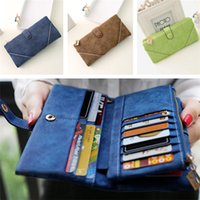 basic credit card - Women Synthetic PU Leather Clutch Basic Coin Case Money Clip Wallet Zipper Button Solid Purse