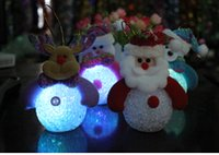 Wholesale MOQ Father Christmas fawn snowman Bruin High end christmas decoration Glowing with lamp light snow Christmas tree widgets
