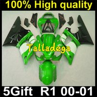 Cheap Plastic Body Fairing Kit Set For YAMAHA YZF R1 2000 2001 00 01 Green White Black YY-125