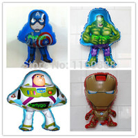 Wholesale Captain America hulk buzz iron man helium balloons for party decorations foil ballons hero mylar globos JIA076