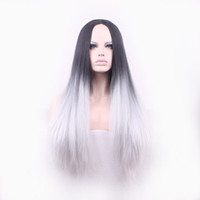 Wholesale Silk Straight cosplay wigs Synthetic Lace Front Wig Glueless Ombre wig Tone Color Black And Grey Heat Resistant Hair Wigs cm