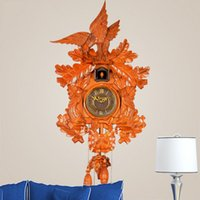 antique wood sculpture - Classic Wooden Wall Cuckoo Clock Photosensitive Timekeeping Solid Wood Sculpture Hand Carved Painted Smart Mute Wall Clocks