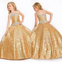 baby bling dress - 2016 Pageant Dresses For Girls Ball Gown Gold Crystals Bling Bling Kids Flower Girl Dresses Floor Length Glitz Formal Baby