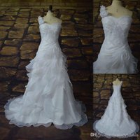 Cheap 2015 Mature White Organza One Shoulder Wedding Dresses Actual Images Pleates Bridal Gowns Grecian Style Bride Dress Custom Made In China