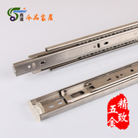 Wholesale Commercial Road Hardware stainless steel ball three triple drawer slide rail slide rail track