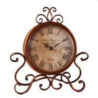 american antique desks - Annabel American retro clock wrought iron garden European style table clock desk clock sit clock creative living room watch