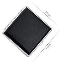 Cheap 2015 Elegant Leather Cigarette Cases Box 20 Cigarette ,Black Color Cigarette Holders and Cases Gift for Men Free Shipping