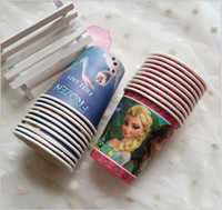 disposable dress - 2015 kid frozen color Birthday christmas disposable paper drink cups Festive party Plastic cups party dress up supplies TOPB3020 set