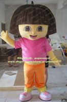 Wholesale Cute Brown Lassock Little Young Girl Maidy Colleen Dora With Black Short Hair Mascot Costume Mascotte Adult No