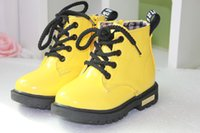 Wholesale The New Light Colored Patent Leather Shoes Boys Girls Boots Boots Fashion Motorcycle Boots Single Flat Boots Size