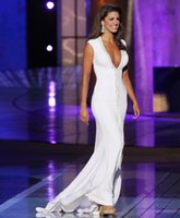 Wholesale 2015 Miss America Pageant Dresses Pure White Sexy V Neck Column Sheath Sweep Train with Beaded Crystal Fashion Red Carpet Formal Gown SKY141