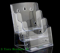 acrylic leaflet stand - Clear A5 Three Tiers Pamphlet Brochure Literature Plastic Acrylic Display Holder Stand To Insert Leaflet On Desktop