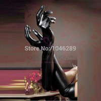 Wholesale Sexy Women s Long Gloves Five Fingers Faux Leather Latex Gothic Gloves Black Wet Look Elbow Length Metallic gloves