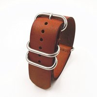 Wholesale zulu strap High quality MM Nato strap genuine leather Watch band NATO straps watch strap brown color