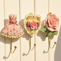 Wholesale 2pcs Heart Rose Wall Door Home Bathroom Towel Clothes Metel Resin Hanger Holder Hook