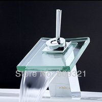 Wholesale Freeshipping Glass Waterfall Faucet Bathroom Faucet Waterfall Bathroom Sink Faucet Faucet Mixer
