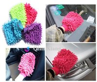 Wholesale 10 Car cleaning wash mitt microfiber Cleaning towel Superfine fiber household cleaning car clean gloves Double sided