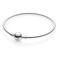 Cheap New Fashion Bangles 925 Sterling Silver Jewelry Clasp Charm Bracelets Bangle Fit For European Charms Silver Beads