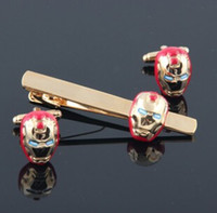 Wholesale Fashion Metal Iron Man Red Cuff Link and Tie Clip Sets Men s Jewelry Super Hero Cuff Link and Tie Clip Sets