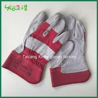working gloves split leather - Colored short cow split leather welding gloves safety working gloves heat resistant glove short wear resistant glove