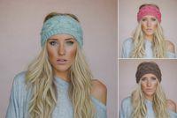 Wholesale 19 color Ou Han warm needle woven wool hair hoop earmuffs Hemp flowers with modified facial hair winter headbands TG008