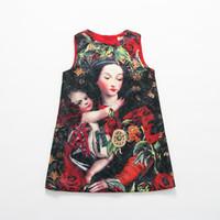 brocade - 2015 Kids Girls Brand Design Brocade Party Dresses Jacquard DOLCE GABBANA Dresses Baby and Mother Hugs Sleeveless Christmas Fall Dresses