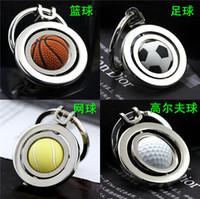 ball tennis car - Ball KeyChains keyrings Ball key chain metal rubber rotary basketball football tennis golf keychain wedding Favor Key Ring