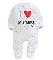 Spring / Autumn bebe clothing - 2015 baby clothing unisex baby rompers printed long sleeve love mummy and daddy jumpsuits bebe roupas meninos Baby crawling clothes onesies