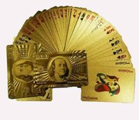 plastic plate - sets Gold foil plated playing cards Plastic Poker US dollar Euro Style and General style With Certificate