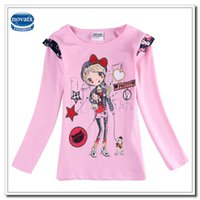Cheap Kids Pink Long Sleeves Girl T shirt for Spring Autumn Lovely