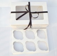 Wholesale 2014 hole white open window cupcake box muffin cake boxes cake tray food packaging x15 x9CM