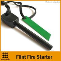 Wholesale New Outdoor Camping Flint Tooth Scraper Ferrocerium Stone Fire Starter Lighter Survival Tool Kit EDC Tools