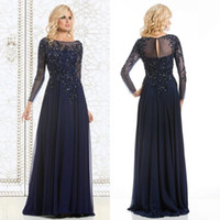 Wholesale Gorgeous Chiffon Mother Dresses Sexy A Line Crew Neck Long Sleeve Prom Dress Beads Crystals Floor Length Formal Maid of Honor Dress