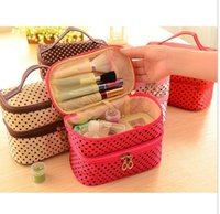 Cheap Rose Red, Red, Pink, Coffee, Black, Beig cosmetic bags cases Best zipper dot cosmetic box