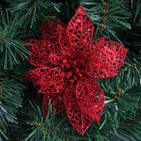 artificial trees cheap - cm White Glitter Hollow Artificial Christmas Flowers Poinsettia Cheap Christmas Ornaments