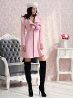 Wholesale Europe and America new winter coat and long sections woolen coat jacket Slim lotus leaf collar women coat