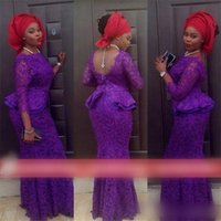 african dress styles - African Evening Gowns Aso Ebi Style Mermaid Jewel Neckline Floor Length Peplum Illusion Long Sleeve Purple Lace Evening Dresses