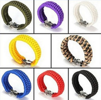 paracord bracelets - New Survival Bracelets Paracord Camping Bracelet Stainless Steel U Clasp Escape Life saving Bracelet Hand Made wristband Outdoor Gear
