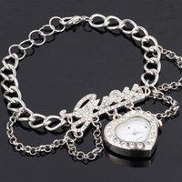 Wholesale Fashion women s full cz rhinestone inlaid sweet LOVE heart shape magic chain wrist watch W0002