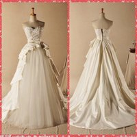 Wholesale New Designer Sweetheart Beaded Pearls Sequined A Line Wedding Dresses New Designers Court Train Pleated Ruched Bridal Gowns Online