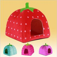 Wholesale New arrival Soft large Sponge Strawberry Pet Dog Cat Beds Houses Lovely Warm Doggy Kennel S M L Size Colors