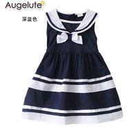 baby sailor dresses - 2015 spring summer new girls dress Korean sleeveless princess kids dress navy sailor style leisure children costume for baby age ab38