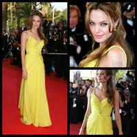 angelina jolie wedding - Sweetheart Simple Chiffon Dresses Party Evening Wear Angelina Jolie Mermaid Yellow Celebrity Dress Red Carpet Vestido Wedding Gowns