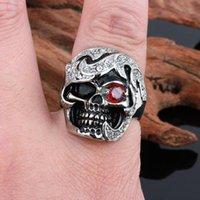 alternative diamonds - FC Alternative personality tide skull Men s titanium steel rings European and American trade of the original single new Red Eye Diamond
