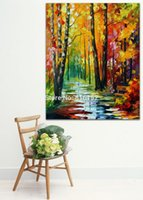 art path - Palette Knife Painting Gold Autumn Magic Forest Path Landscape Picture Printed on Canvas for Home Office Hotel Wall Art Decor